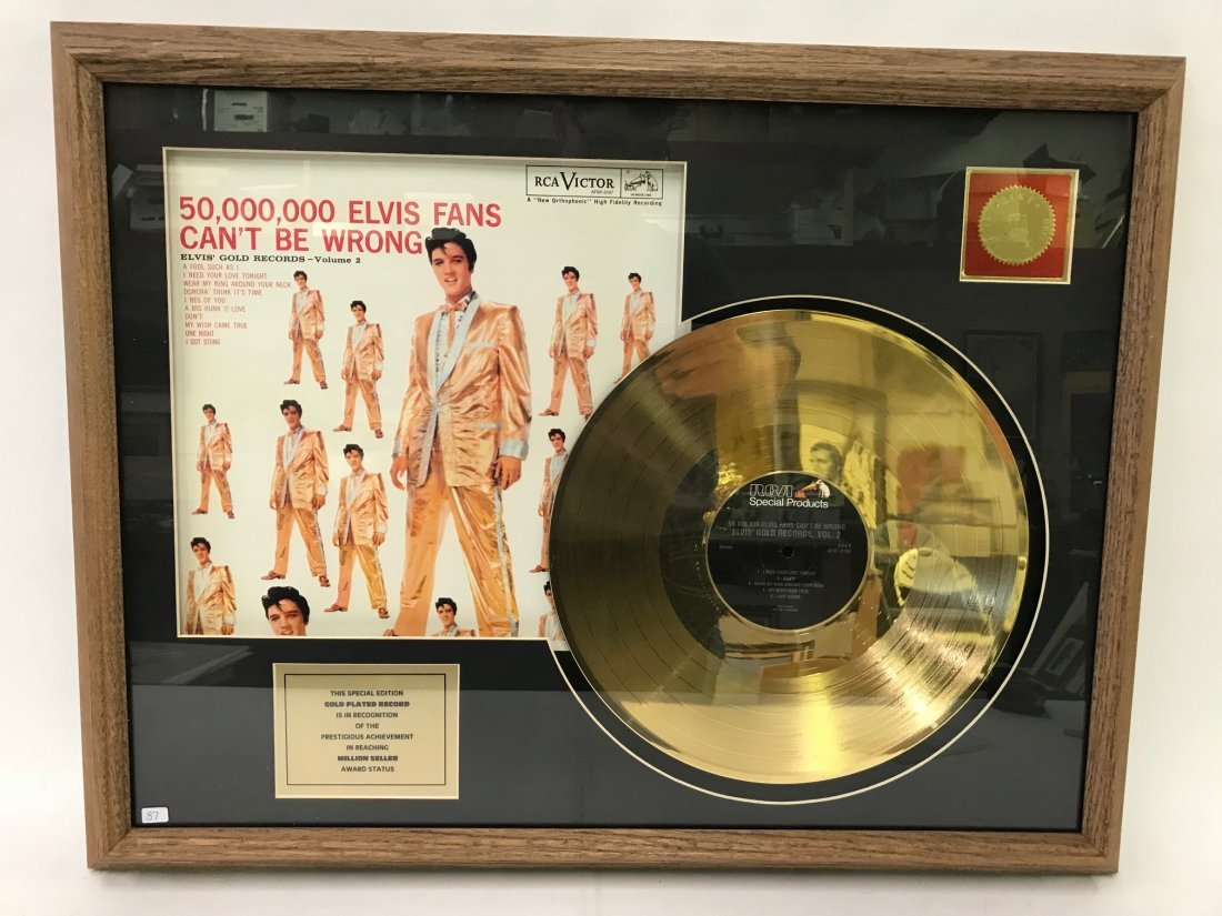 24K Gold Plated Elvis Record  Assemblage