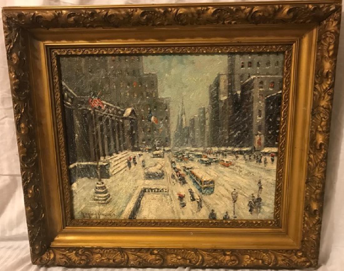 Guy Wiggins. Oil. NYC Scene Sgd.
