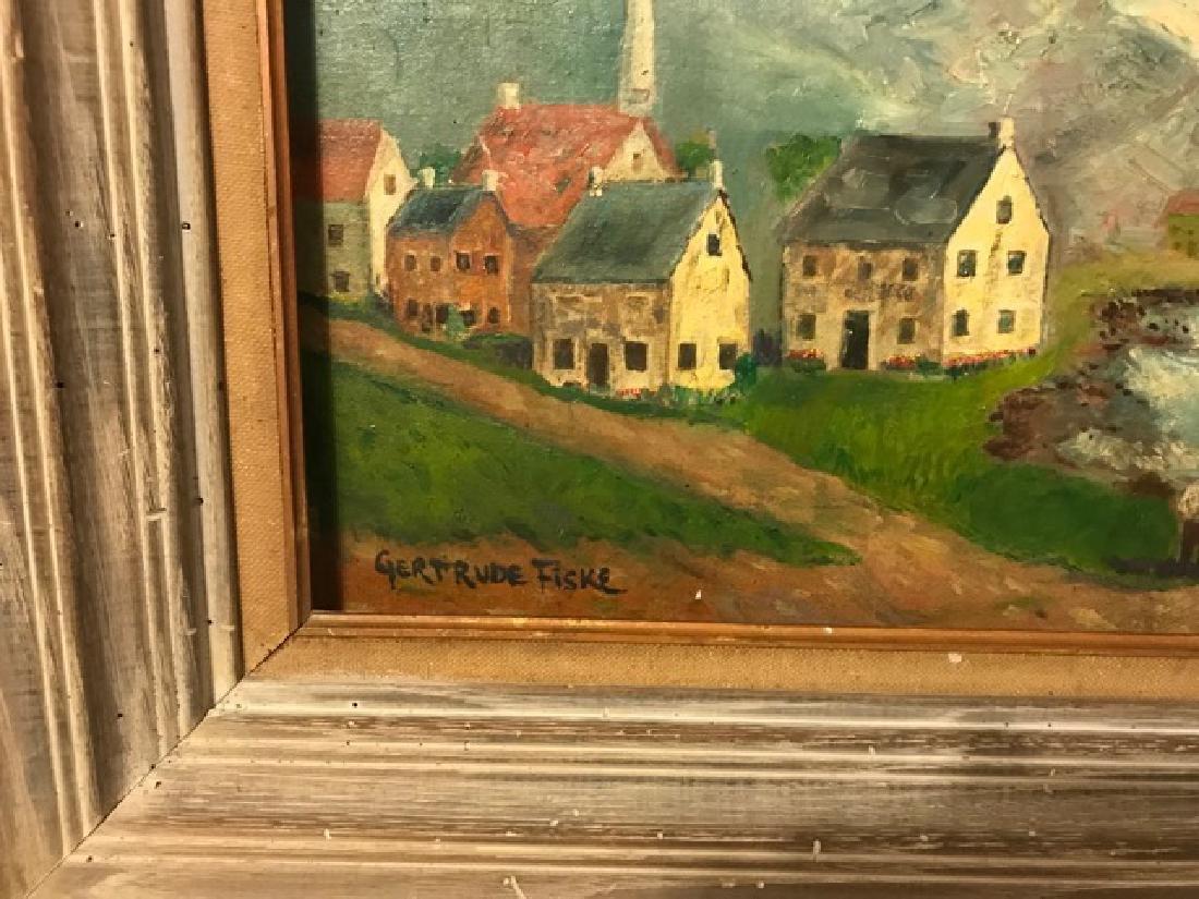 Gertrude Fiske. Oil. Town Scene. Sgd. - 2