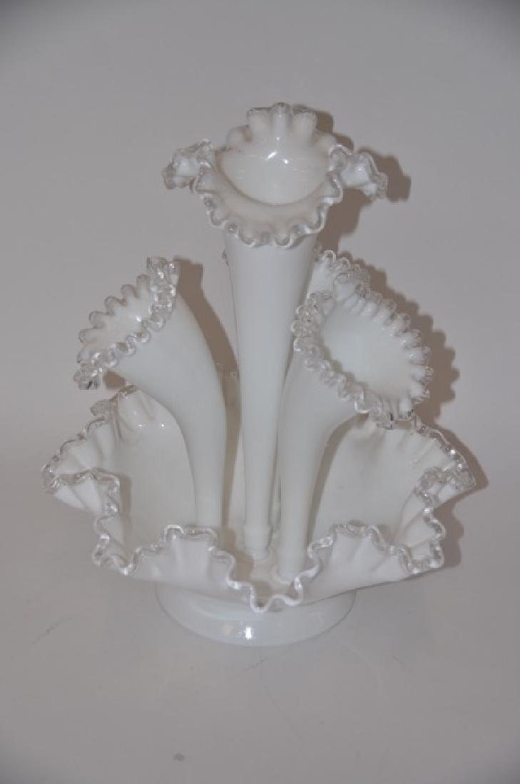 Fenton Four Horn Milkglass Epergne