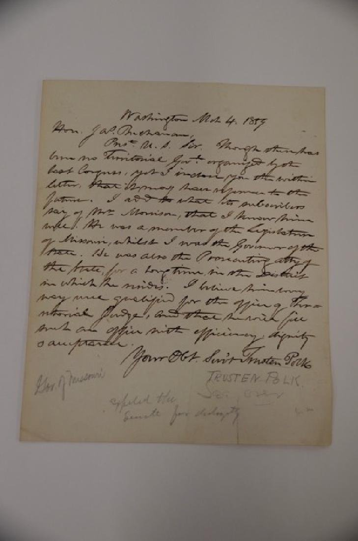 19th C. Political Letter Handwritten Trusten Polk