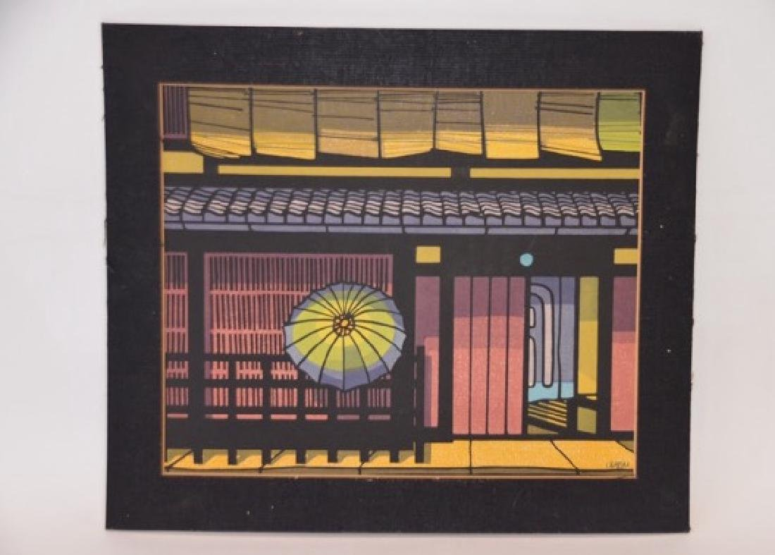 Japanese Woodblock Print Hand Colored Sgd. C. Karhm L.