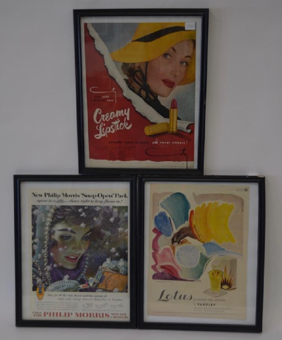 1950's Advertisements. Framed  (3)