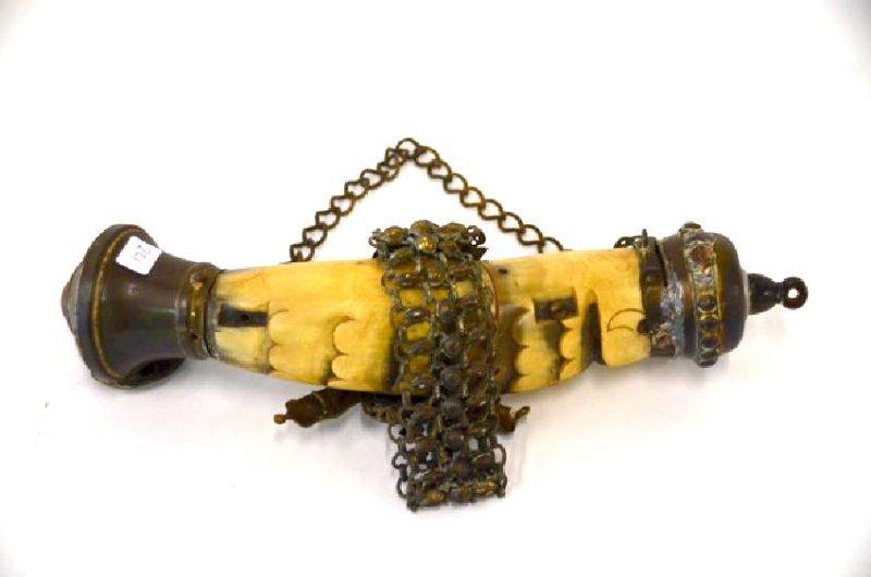 Brass Mounted Mexican Powder Horn