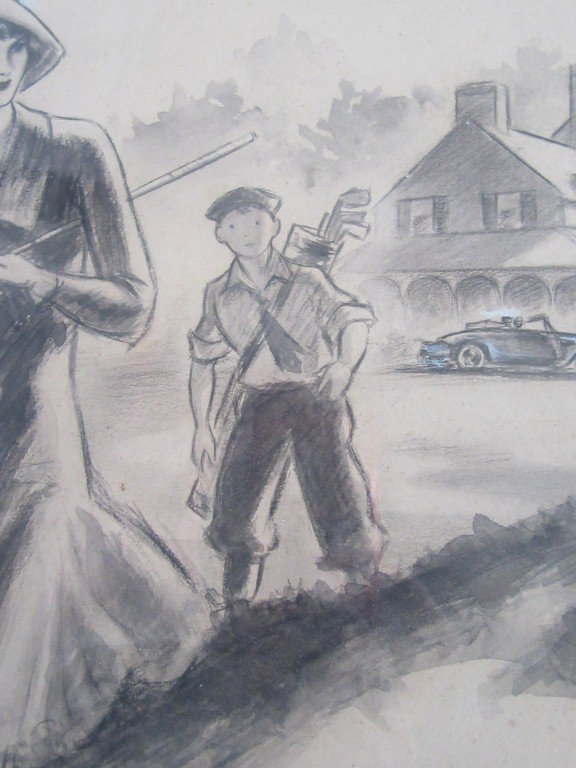 American Illustration Golfing Scene - 3