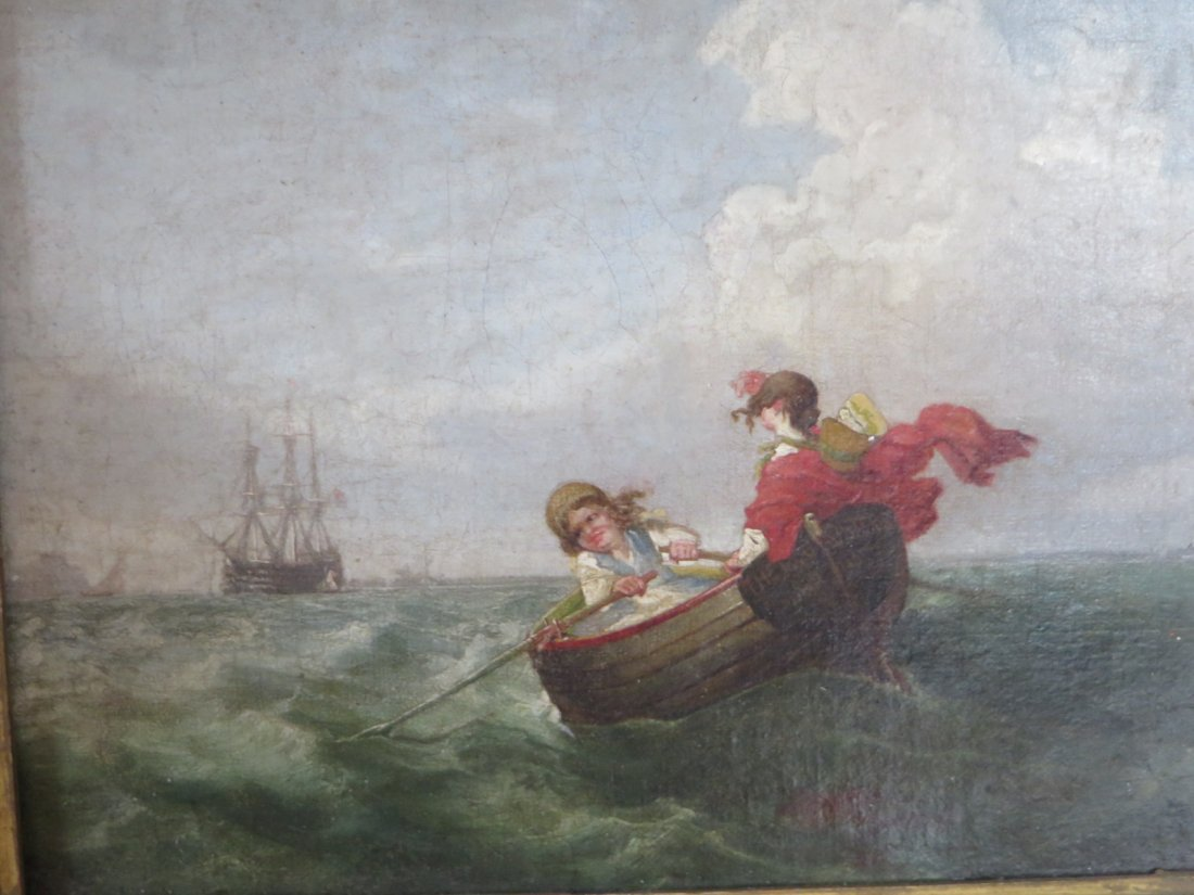 19th C. Oil.  Boats With Figures