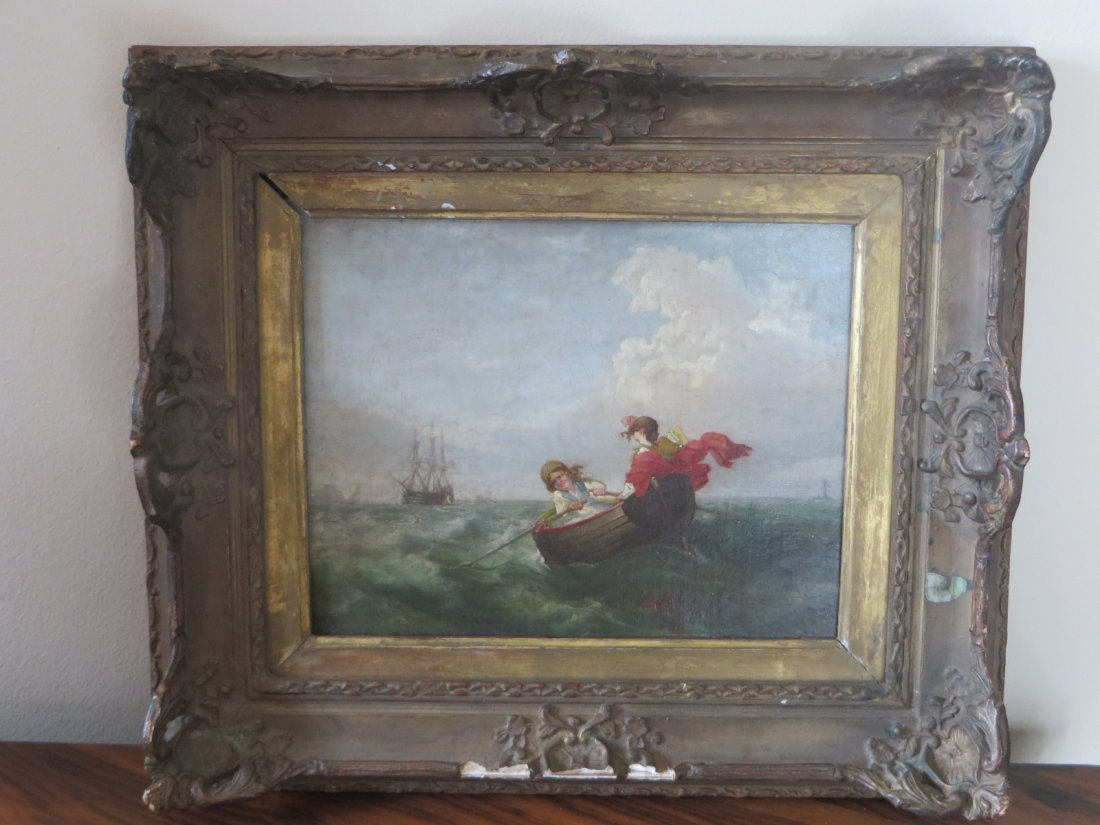 19th C. Oil.  Boats With Figures - 2