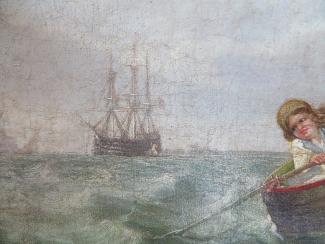 19th C. Oil.  Boats With Figures - 4