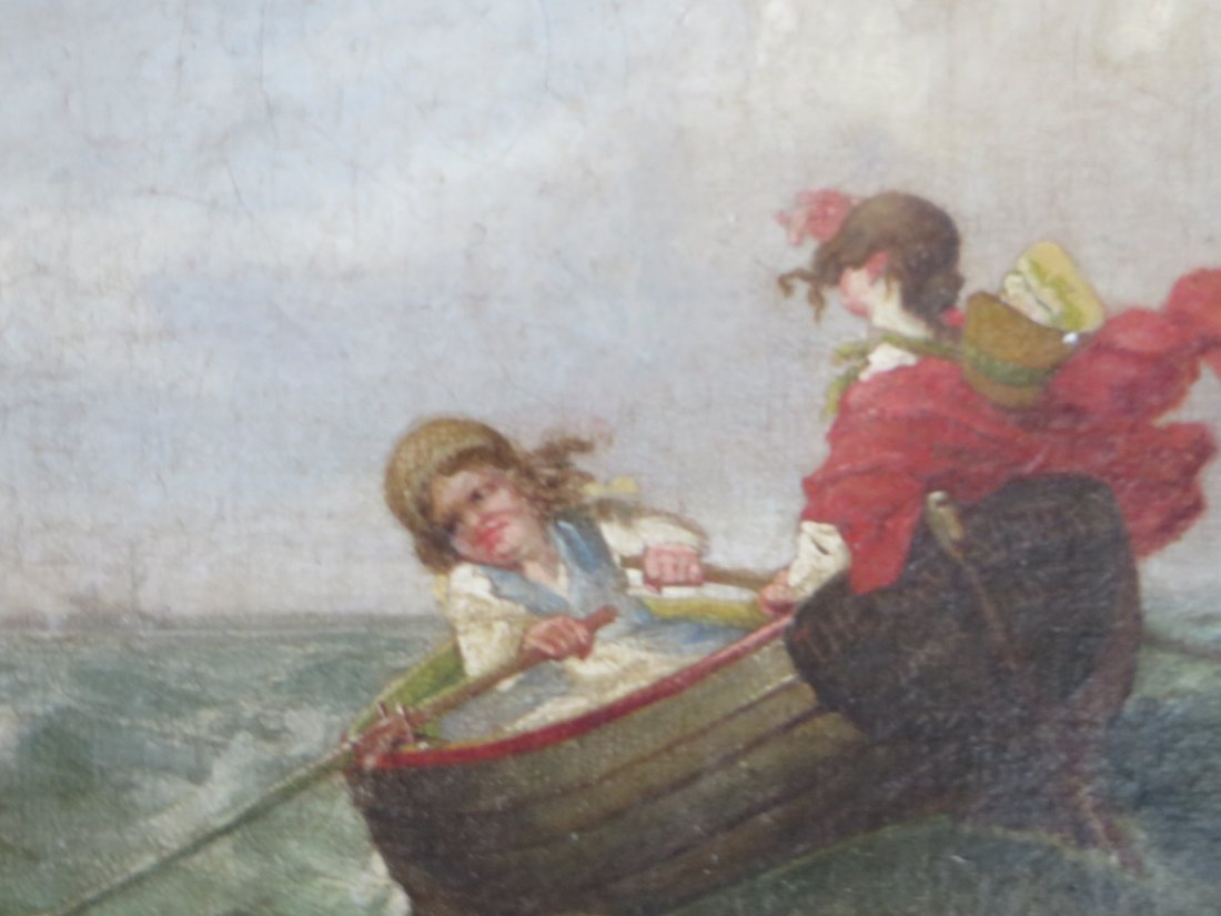 19th C. Oil.  Boats With Figures - 8