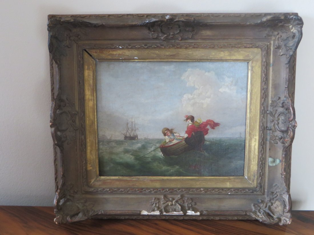 19th C. Oil.  Boats With Figures - 9