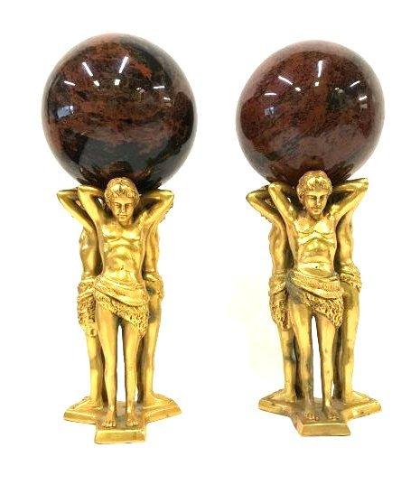 Pr. Art Deco Gilded Figures with Jasper Spheres