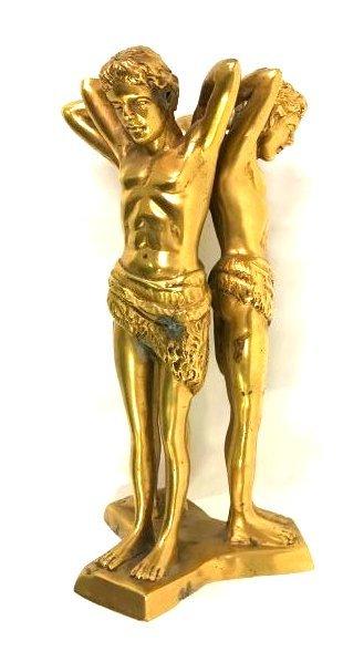 Pr. Art Deco Gilded Figures with Jasper Spheres - 4