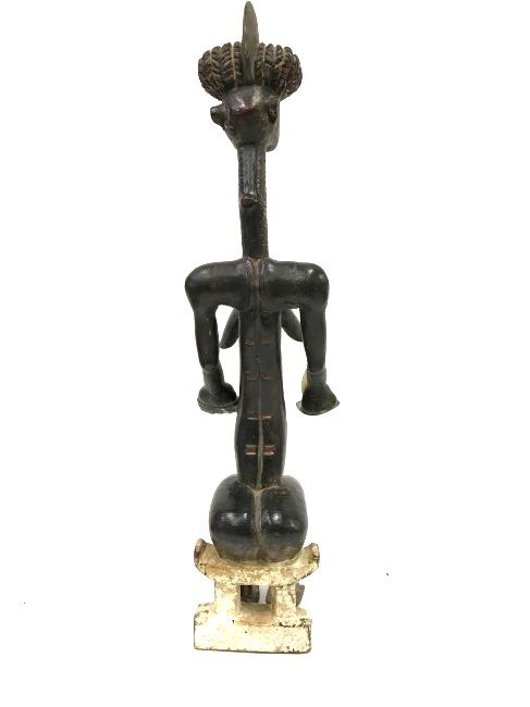 Carved African Figure on Stool - 2