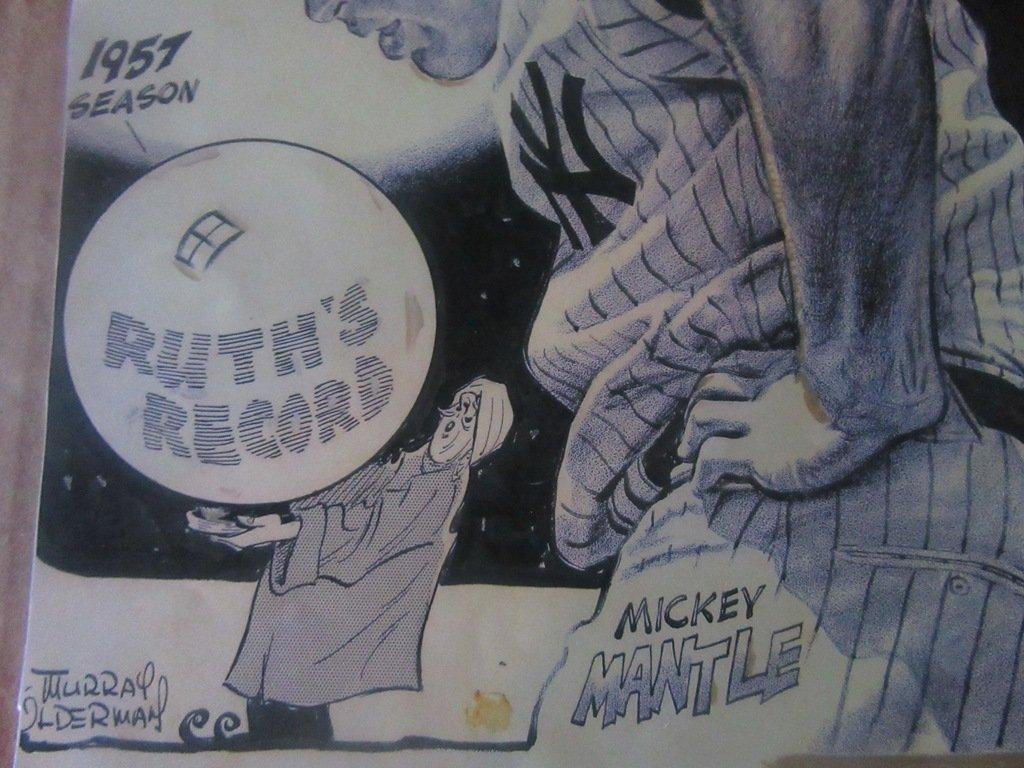 M. Olderman Mickey Mantle Cartoon - 2
