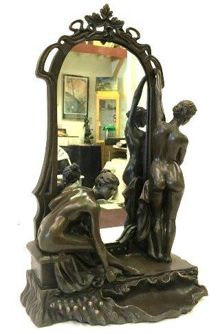 Art Nouveau Bronze Mirror