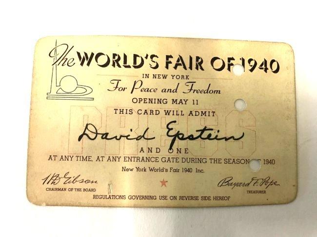 World's Fair 1940 Admission Card