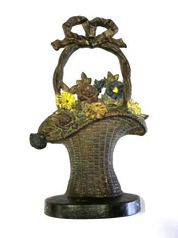 Cast Iron Doorstop. Basket of Flowers