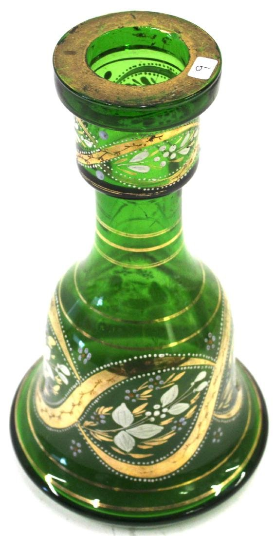 Moser Green Art Glass Vase with Gilt Decorations - 2