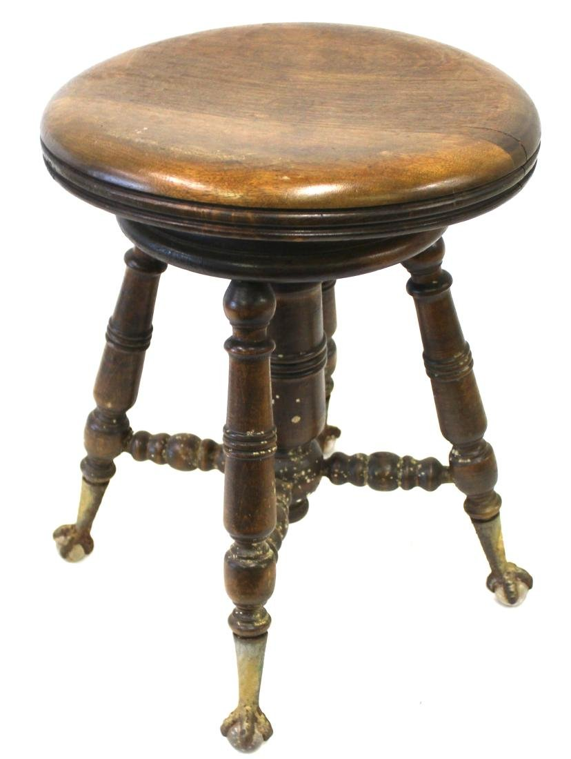 Victorian Swivel Top Piano Stool. Ball & Claw Feet