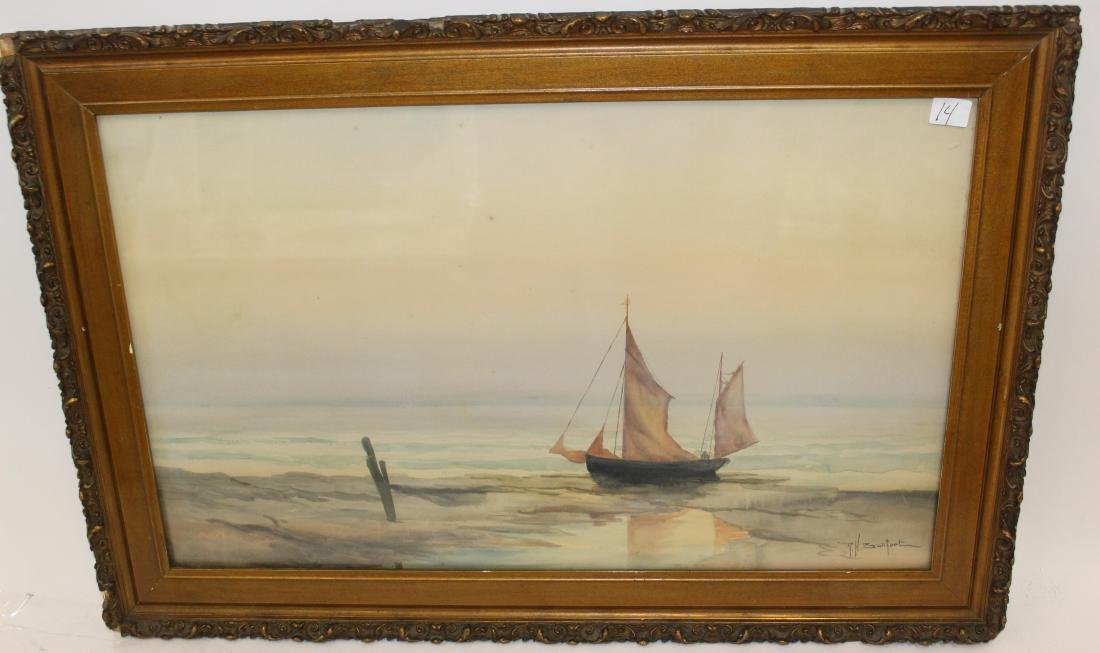 R.H.  Burfoot. Watercolor. Sailing Vessel. Signed `