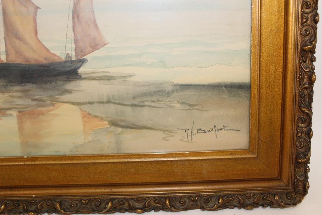 R.H.  Burfoot. Watercolor. Sailing Vessel. Signed ` - 3