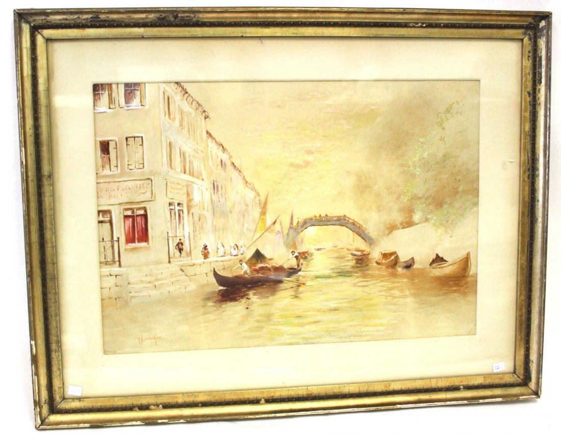 R. H. Burfoot. Watercolor. Venetian Scene. Signed