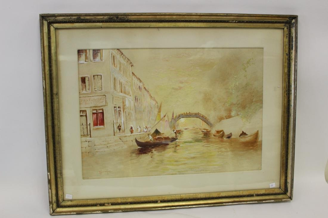 R. H. Burfoot. Watercolor. Venetian Scene. Signed - 2