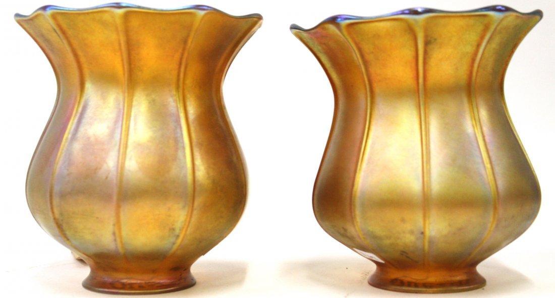 Pr. Quezal Signed Art Glass Shades