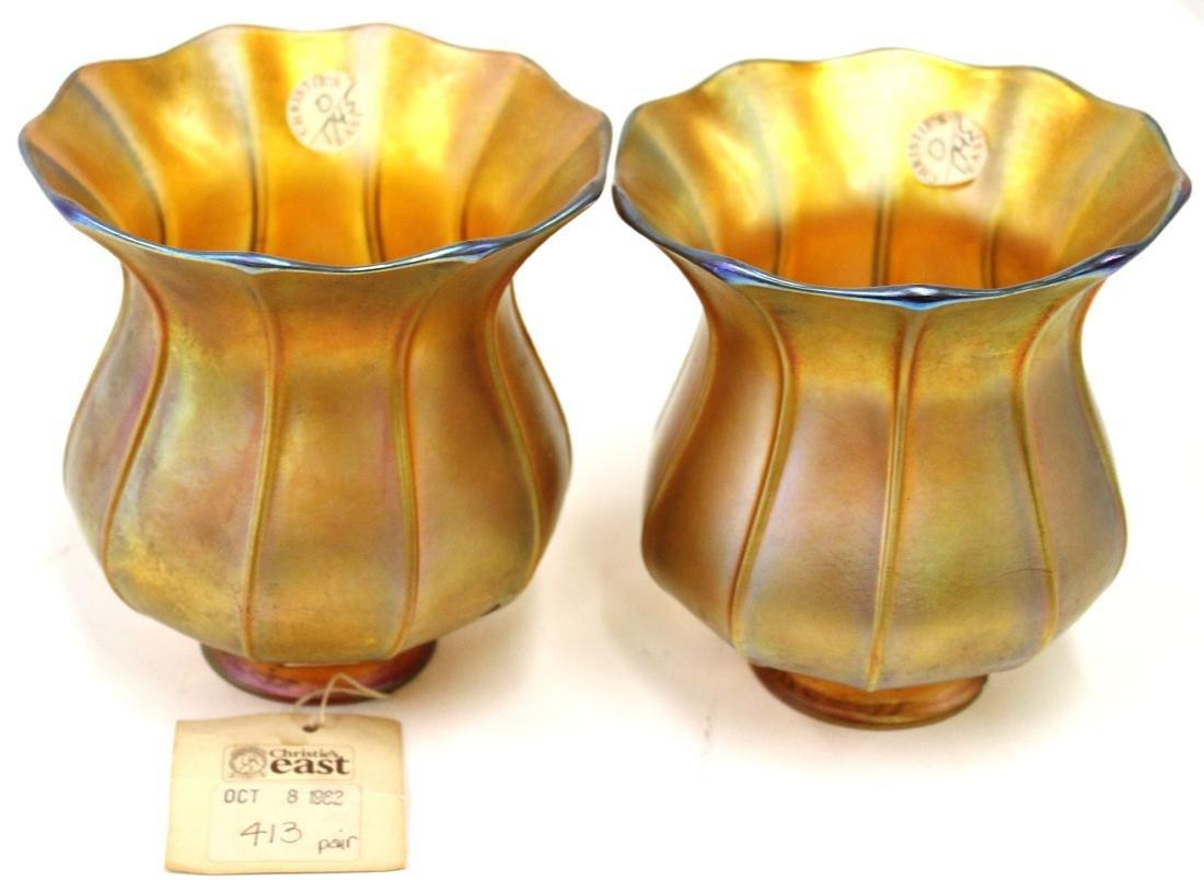 Pr. Quezal Signed Art Glass Shades - 2