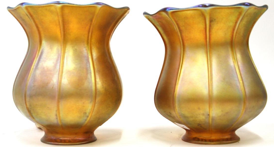 Pr. Quezal Signed Art Glass Shades - 3