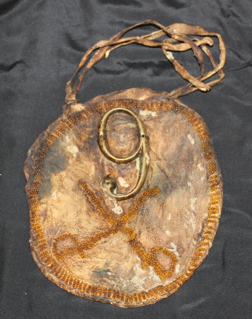 9 Rawhide Civil War Era Shield. Beaded Rifles &Trim