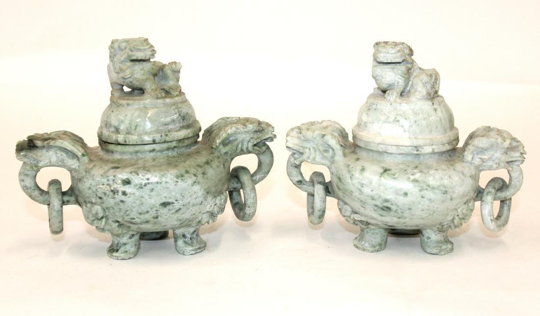 Pr. Oriental Jade Covered Jars