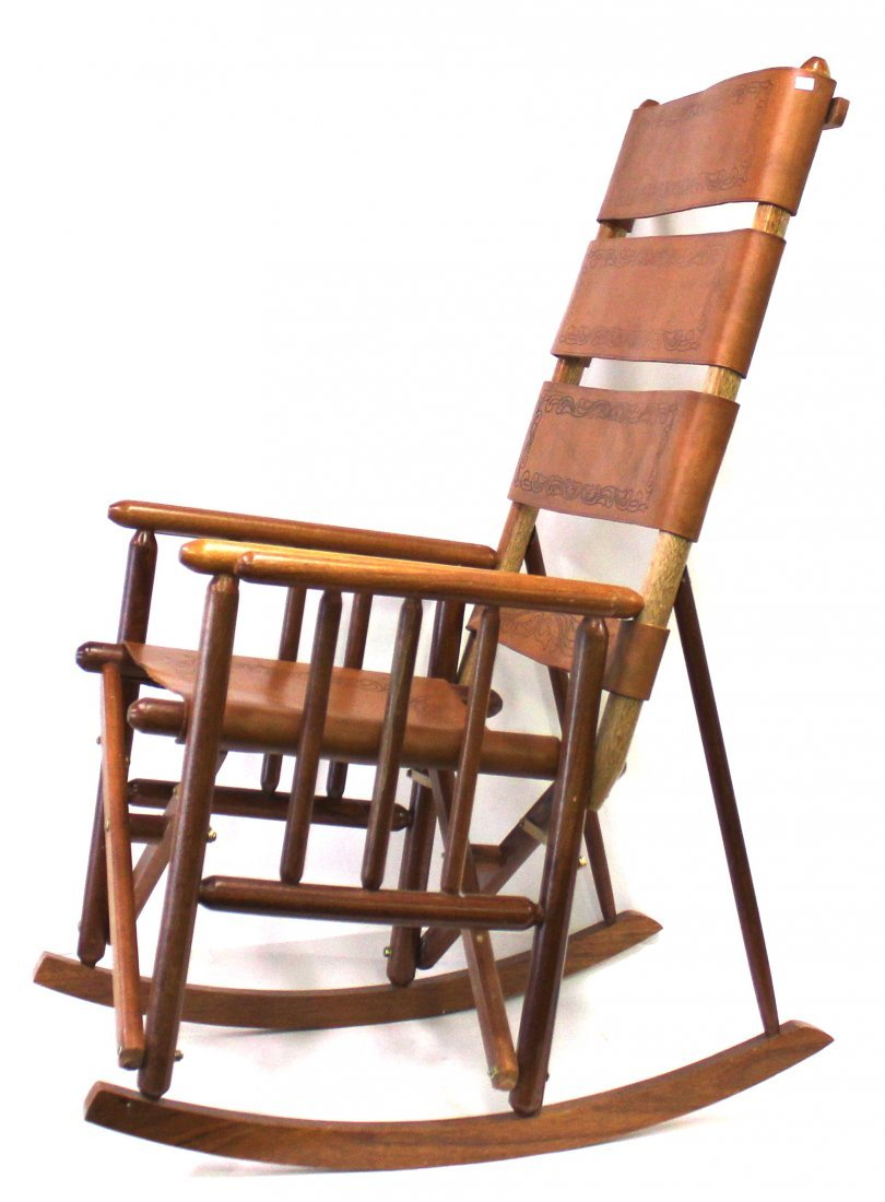 Unusual Leather and Oak Folding Rocking Chair