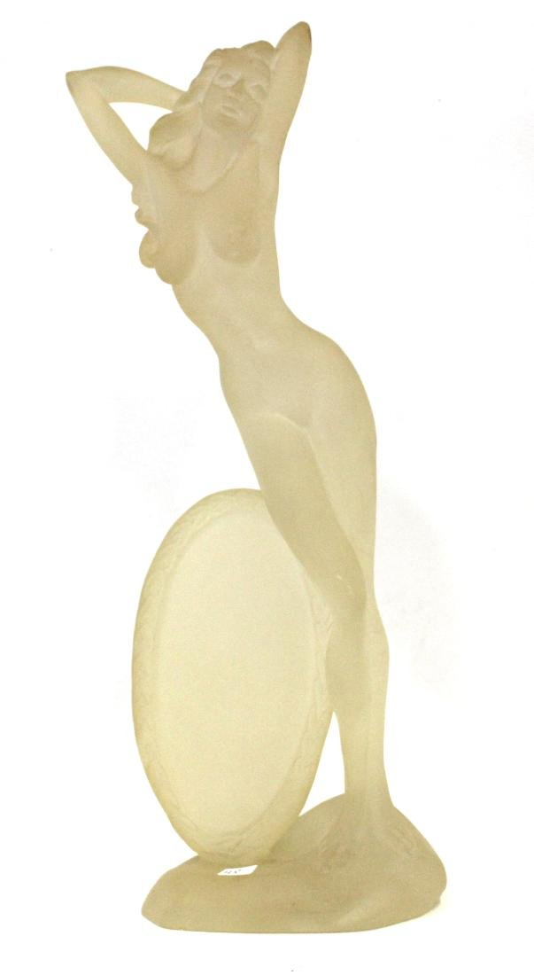 Art Deco Sculpture Nude with Disc