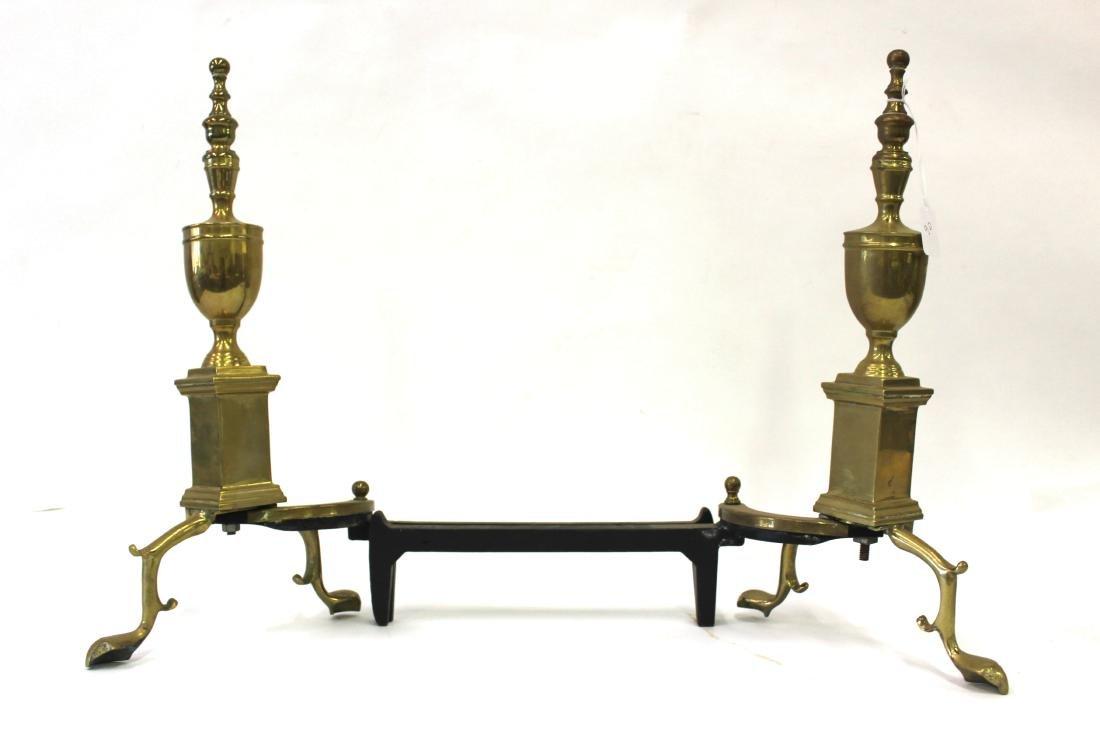 19th C. American Brass Andirons.