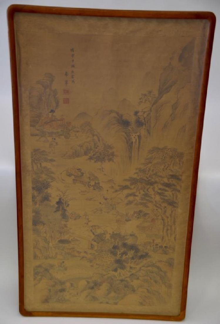 19th C. Japanese Intricate Watercolor on Silk