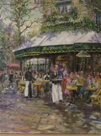 Tsar. Valery Tsarikovsky. Oil. French Cafe. Sgd. Tsar