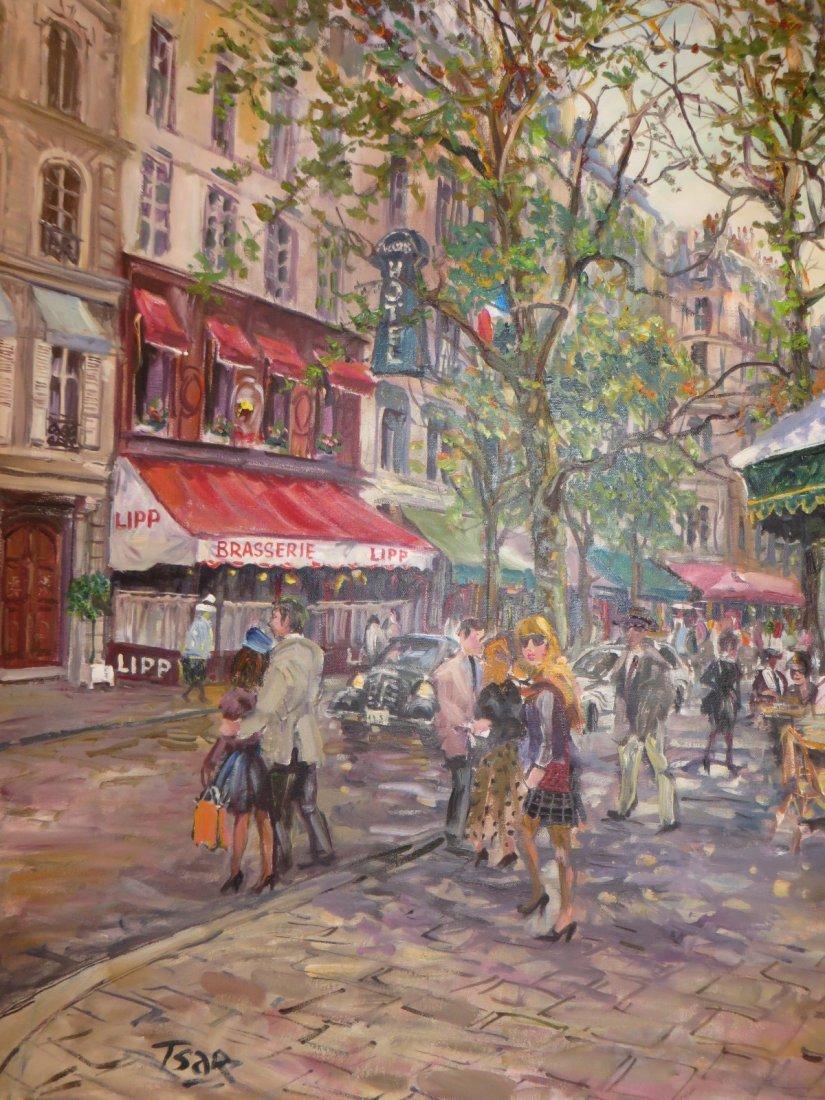 Tsar. Valery Tsarikovsky. Oil. French Cafe. Sgd. Tsar - 4