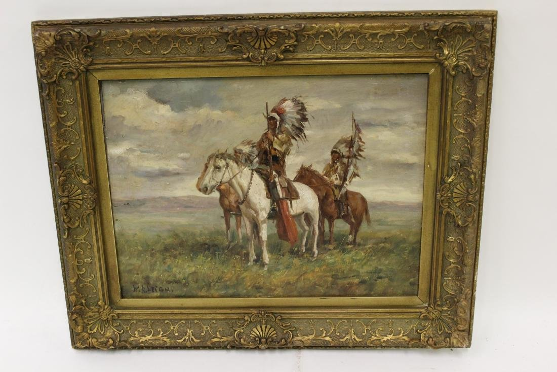 W.R. Leigh. Oil. Indian Warriors. Signed.