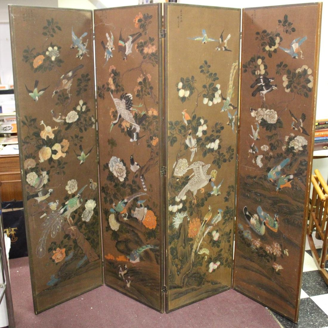 19th C. Chinese Four Fold Screen