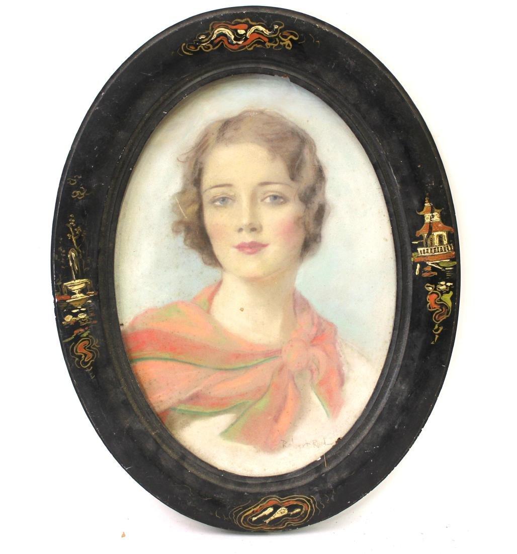 Robert Reid. Oval Pastel Portrait. Art Deco Lady