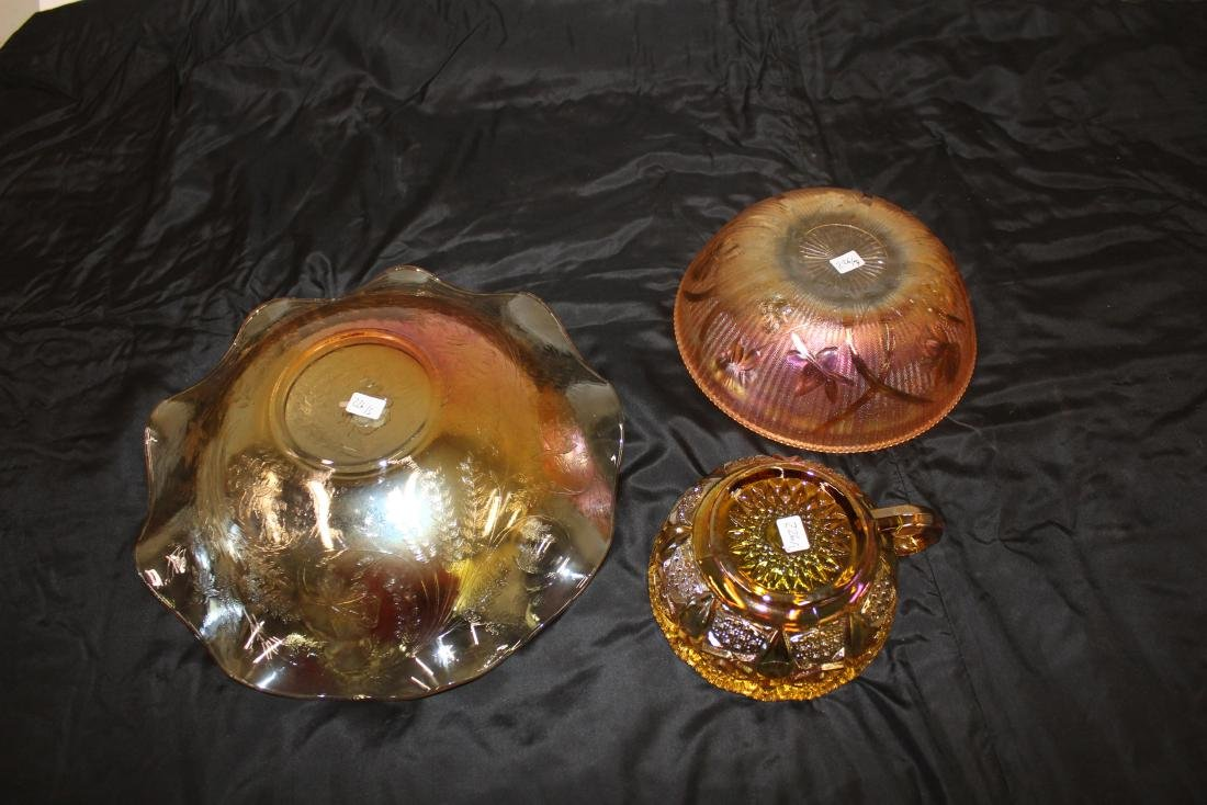 Carnival Glass Iris Bowl, a 2nd & Handled Nappy (3) - 2