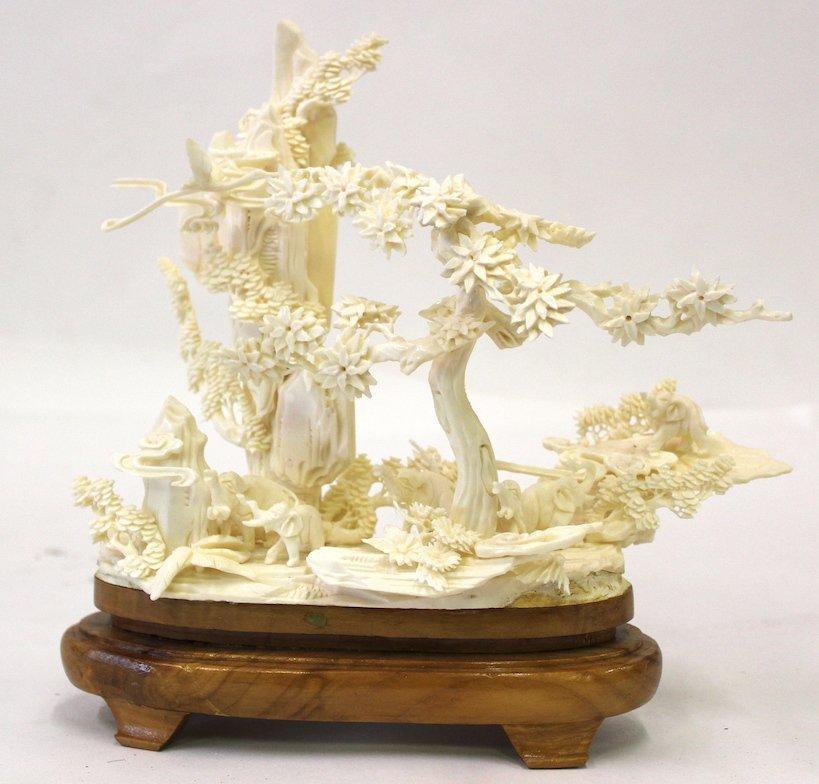 Oriental Intricately Carved Bone Sculpture