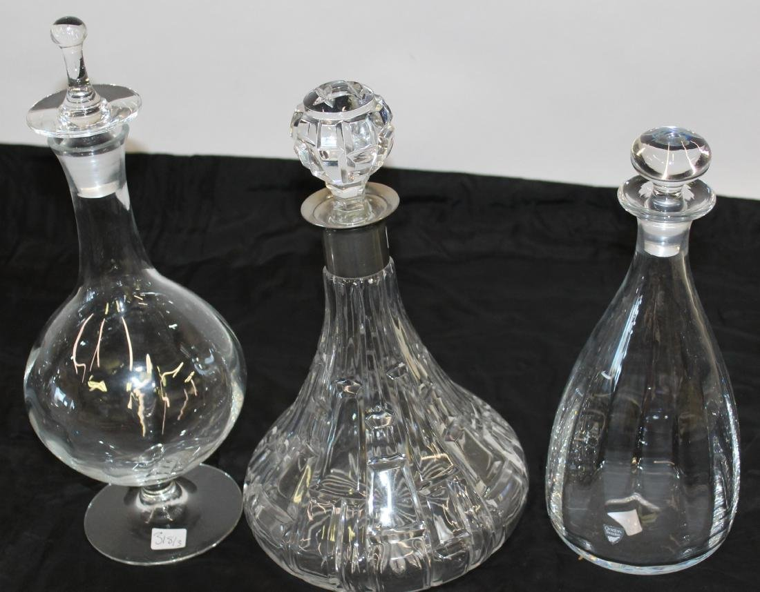 Orrefors Decanters (2) Signed Together a Third