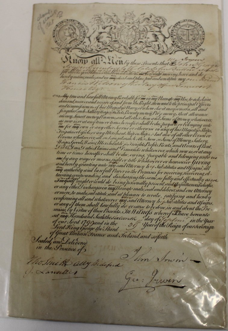 1799 Reign of George III Power of Attorney