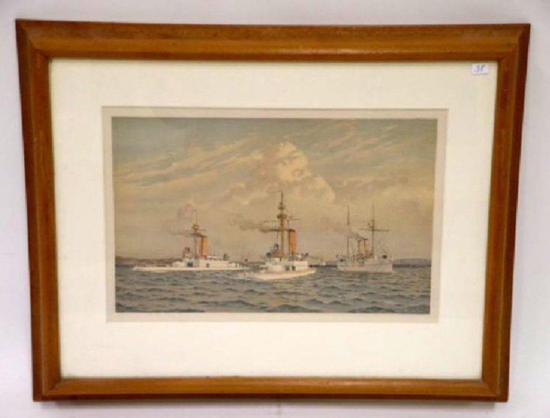 Fred Cozzens. Lithograph.  Ships. Armstrong. C. 1894