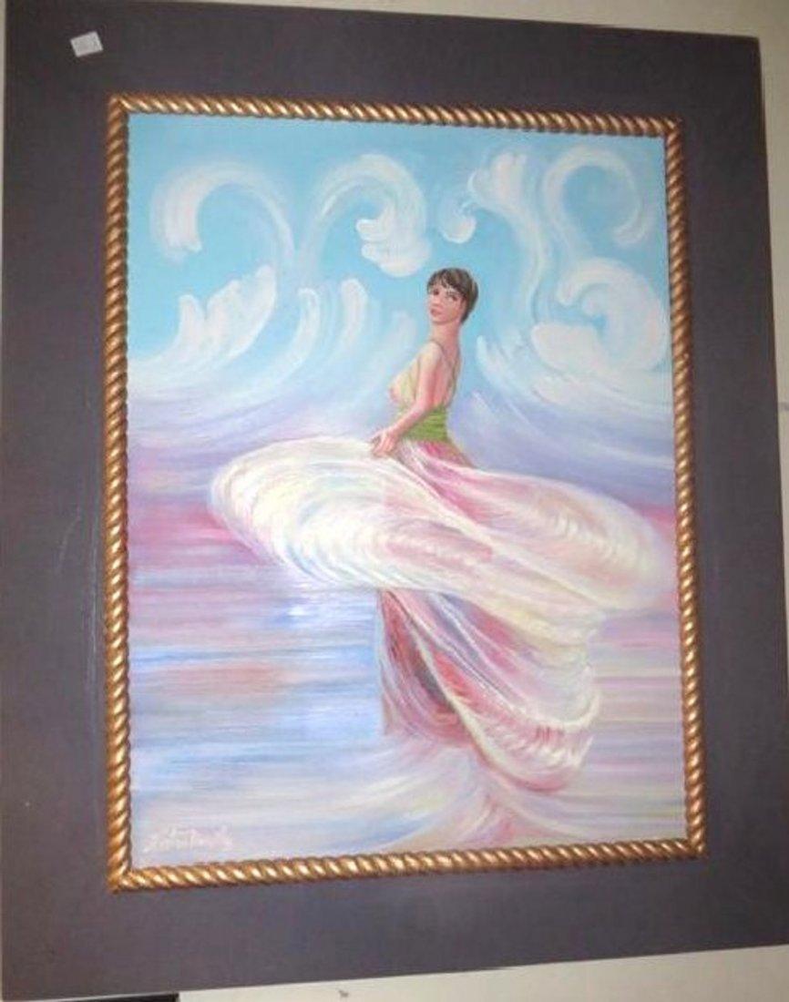 Kristina Nemethy. Oil Woman in a Swirling Dress. Sgd.