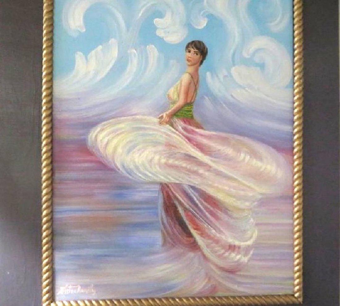 Kristina Nemethy. Oil Woman in a Swirling Dress. Sgd. - 2