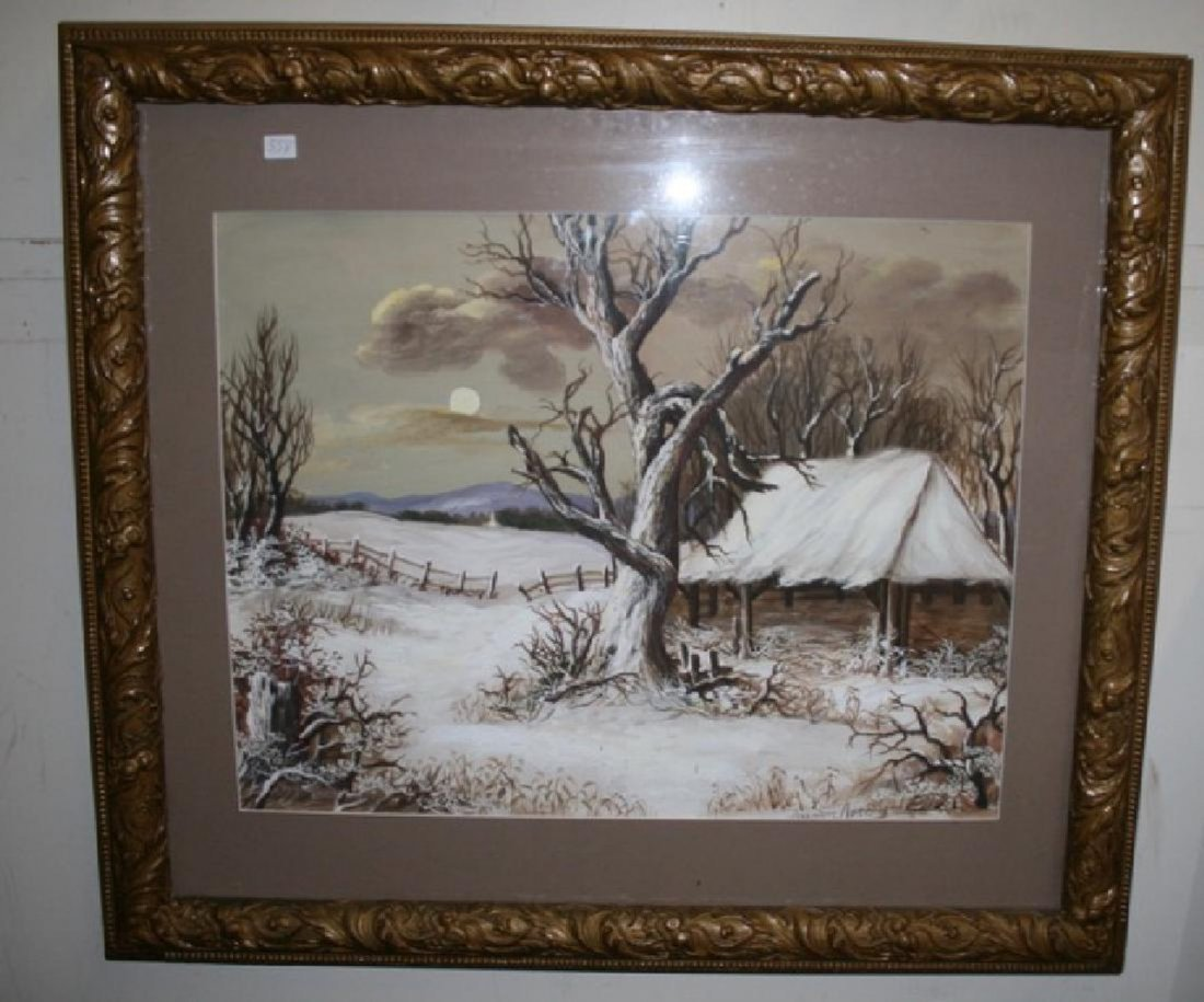 Kristina Nemethy. Oil. Cottage in Winter Sgd.
