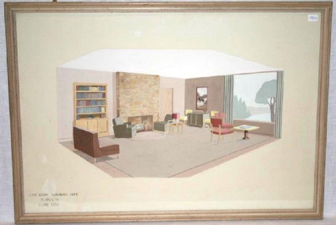 Claire Erts. 1960's Architectural Rendering. Signed